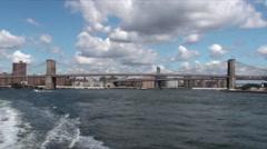 Brooklyn Bridge Hudson River NYC - stock footage
