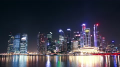Modern cityscape at night. Singapore. time lapse Stock Footage