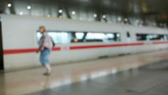 Defocused view of a train Stock Footage
