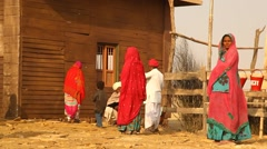 Indian Poor people at Desert Train station of Rajasthan Stock Footage