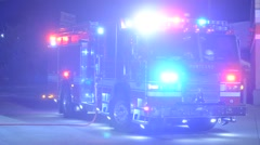 Fire truck parked on scene no active fire here - stock footage