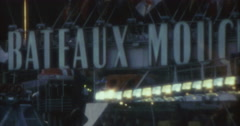 Paris Seine Bateaux Mouches River Boat 70s 80s 16mm Stock Footage