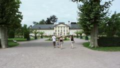 Family in Orangerie park, Strasbourg Stock Footage