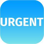 Text urgent on blue icon Stock Illustration
