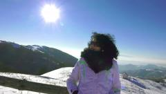 4k happy women facing camera and enjoying winter day. snow landscape at high Stock Footage