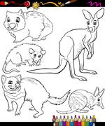 Stock Illustration of animals set cartoon coloring book
