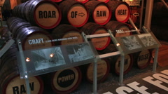 Wooden barrels for beer. Excursion to the Guinness Storehouse Stock Footage