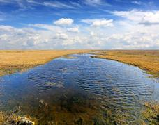 lake in steppe - stock photo