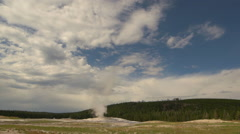 Wide shot of Old Faithful geyser eruption - Part 1 of 3 Stock Footage