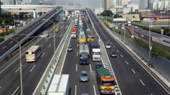 Time Lapse of Heavy Truck Traffic on Japanese Highway -   Tokyo Japan Stock Footage