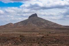 Desert Arid landscape in Sal Island Cape Verde - Cabo Verde - stock photo
