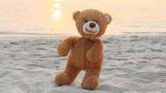 Happy bear marionette and sunset beach Stock Footage