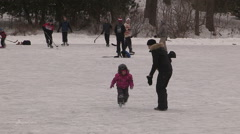 Pond hockey and ice skating Stock Footage