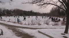 Pond hockey and ice skating Stock Footage