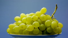 White grapes on a plate Stock Footage