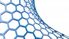 Blue grid of hexagons.Seamless loop - stock footage