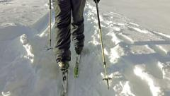 Cross country skiing after a snowstorm in the mountains Stock Footage