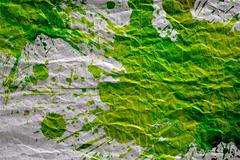 Crumpled Paper with Green Paint Stain Background. Stock Photos