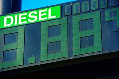 Diesel Fuel Price Gas Station Display Closeup. Stock Photos