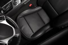 Driver Seat Photo From Above. Black Car Leather Interior Stock Photos