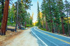 Highway Through Sierra Nevada Mountains in California, United States. - stock photo