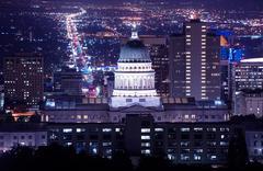 Stock Photo of Utah Capitol Building in Salt Lake City. Night Time Panorama.