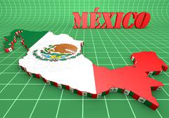 Map illustration of Mexico with flag Stock Illustration