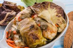 Baked cabbage rolls Stock Photos
