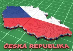 Map illustration of Czech Republic - stock illustration