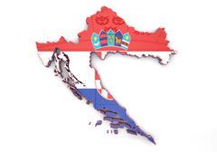Map illustration of Croatia - stock illustration