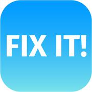 A blue icon with the words Fix It - stock illustration