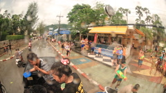 Water festival crazy Thailand songkran Stock Footage