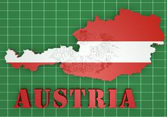Stock Illustration of map illustration of Austria with flag