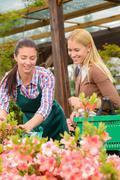 Stock Photo of Gardener woman advising customer buying plants