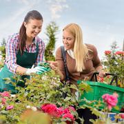 Garden center worker give advice woman customer - stock photo