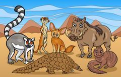 Stock Illustration of african mammals animals cartoon illustration