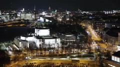 Helsinki city aerial night timelapse, 360° shutter = 100% fluid motion Stock Footage