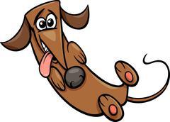 cute happy dog cartoon illustration - stock illustration