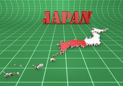 map of Japan with flag - stock illustration