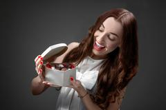 Woman with sweets. Happy Valentine concept Stock Photos