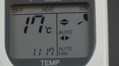 Screen of an aircon machine with temperatures Stock Footage