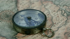 The second arrow of the compass is moving around Stock Footage