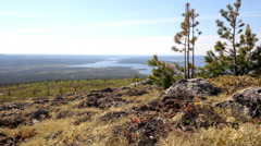 Beautiful views of  river valley. Mountain tundra of Lapland Stock Footage