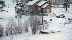 The Orthodox wooden church is in Segezha town at winter season. The Segezha Stock Footage