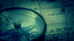 Close up view of the compass on a blue vision Stock Footage