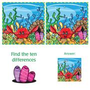 Visual Game find 10 differences with answer Stock Illustration