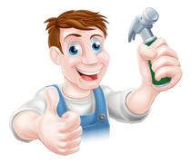 Man holding hammer Stock Illustration