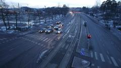 Helsinki traffic time lapse, 360° shutter = 100% fluid motion - stock footage