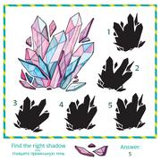 Visual puzzle - Find the right shade to the picture Stock Illustration