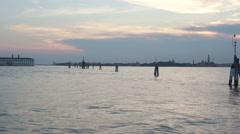 Fairway signs in Venice lagoon Stock Footage